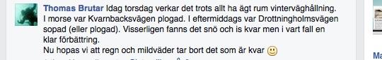 Från facebookgruppen Cykla i Stockholm torsdag 15/1