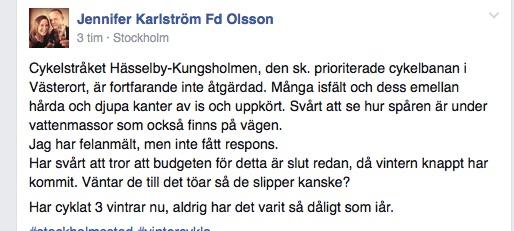 Från facebookgruppen Cykla i Stockholm.
